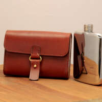 Hip Flask and Light Brown Leather Case thumbnail