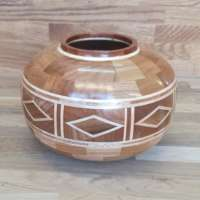 Elm Wooden Vessel with Diamond Features (Large) thumbnail