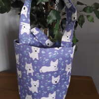 Westie Tote Bag with Flowers thumbnail