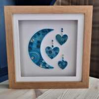"""Quilled """"Moon and Hearts"""" Box Frame thumbnail"""