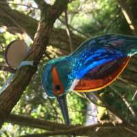 Fused Glass Hanging Kingfisher Decoration thumbnail