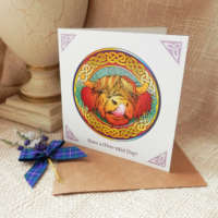 Celtic Knot Highland Cow Greeting Card thumbnail