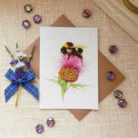 'Bee on a Thistle' Greeting Card thumbnail