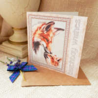 Birthday Wishes Fox and Cub Greeting Card thumbnail