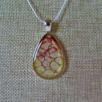 Tear Drop Gold and Crimson Pendant thumbnail