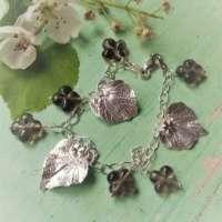 Silver Leaf & Smokey Quartz Bracelet thumbnail