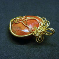 Red Jasper Puffy Heart Gemstone Pendant thumbnail