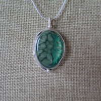 Medium Antique Oval Pendant in Rich Greens thumbnail