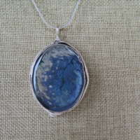 Large Antique Oval Pendant in Smokey Blue thumbnail