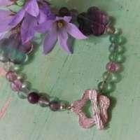 Rainbow Fluorite and Silver Bracelet thumbnail