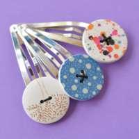 Trio of Jumbo Button Hair Clips Tree, Dots & Splatter thumbnail