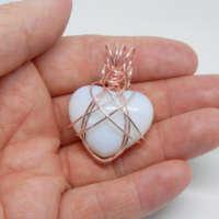 Opalite Heart Wire Wrapped Pendant thumbnail