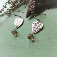 Silver Celtic Heart Earrings with Smoky Quart thumbnail
