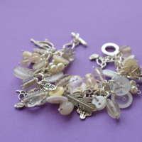 White Button & Bead Bird Charm Bracelet thumbnail