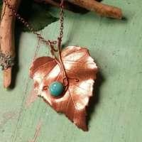 Big Copper Birch Leaf Pendant thumbnail