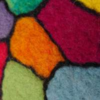 Stained Glass Vibe Wool Heart Textile Art thumbnail