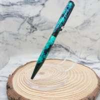 Black & Turquoise Resin Swirl Slimline Pen thumbnail