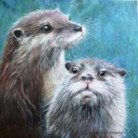 Otter Pair Canvas Print thumbnail