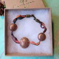 Celtic Bronze Bead & Ribbon Bracelet thumbnail