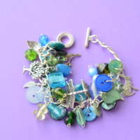 Blue & Green Button & Bead Woodland Themed Charm Bracelet thumbnail