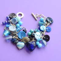 Blue Button & Bead Heart Charm Bracelet thumbnail