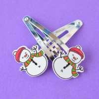 Pair of Jumbo Button Hair Clips Snowman thumbnail