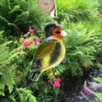 Goldfinch Fused Glass Bird thumbnail