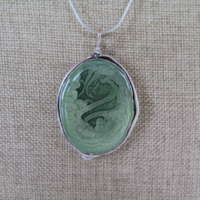 Large Antique Oval Pendant in Green Marble thumbnail