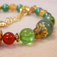 Red and Gold Memory Wire Bracelet thumbnail