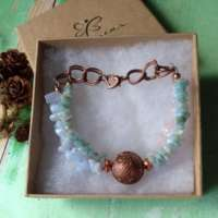 Copper Bead and Gemstone Chip Bracelet thumbnail