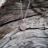 Rose Quartz Silver Heart Necklace thumbnail