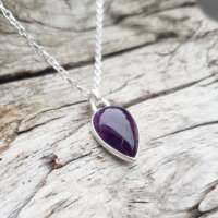 Amethyst Silver Heart Drop Necklace thumbnail