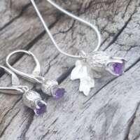 Amethyst Thistle Silver Earrings thumbnail
