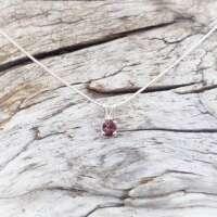 Glenshiel Garnet Silver Necklace on a Snake Chain thumbnail