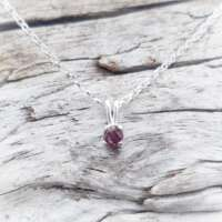 Glenshiel Garnet Silver Necklace on a Belcher Chain thumbnail