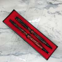 Black and Red Resin Pen and Pencil Set thumbnail