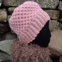 Camel and Old Rose Reversible Crochet Hat thumbnail