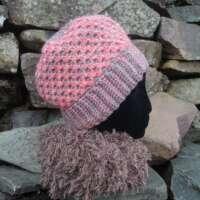 Grey and Coral Reversible Crochet Hat thumbnail