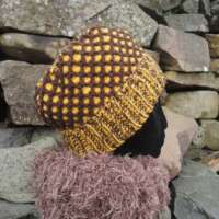 Brown and Yellow Reversible Crochet Hat thumbnail
