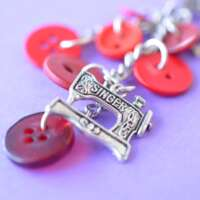 Red Sewing Machine Wee Cluster Bag Charm/Keyring thumbnail