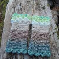 Mint Green Crochet Fingerless Gloves thumbnail