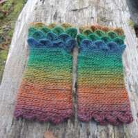 Pastel Rainbow Crochet Fingerless Gloves thumbnail