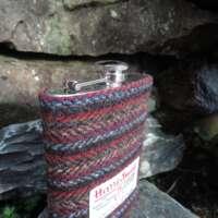 8oz Hip Flask with Striped Harris Tweed Sleeve thumbnail