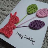 Pink Crochet Bunny Happy Birthday Card thumbnail