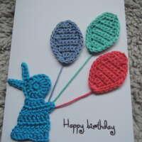 Blue Crochet Bunny Happy Birthday Card thumbnail