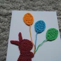 Burgundy Crochet Bunny Card thumbnail