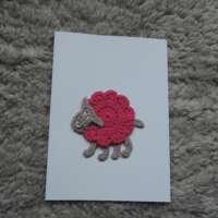 Pink Crochet Sheep Card thumbnail
