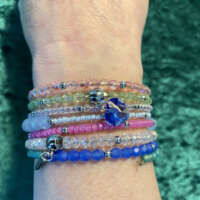Crystal Memory Wire Bracelet with Charms thumbnail