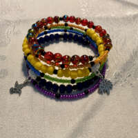 Rainbow Memory Wire Bracelet with Charms thumbnail