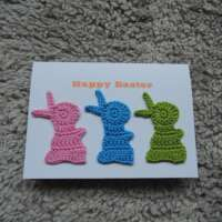 Crochet Bunnies Happy Easter Card PBG thumbnail